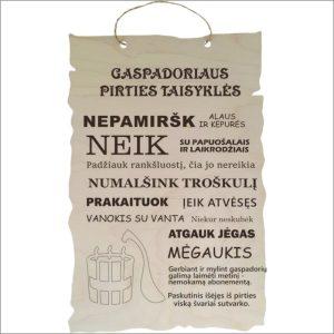 """GRAVIRUOTA, PAKABINAMA LENTELĖ """"GASPADORIAUS PIRTIES TAISYKLĖS"""" 2"""