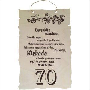"""GRAVIRUOTA, PAKABINAMA LENTELĖ """"GYVENKITE ŠIANDIEN 70"""""""