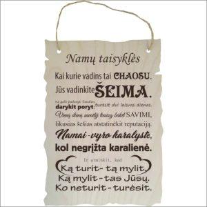 """GRAVIRUOTA, PAKABINAMA LENTELĖ """"NAMŲ TAISYKLĖS""""3"""