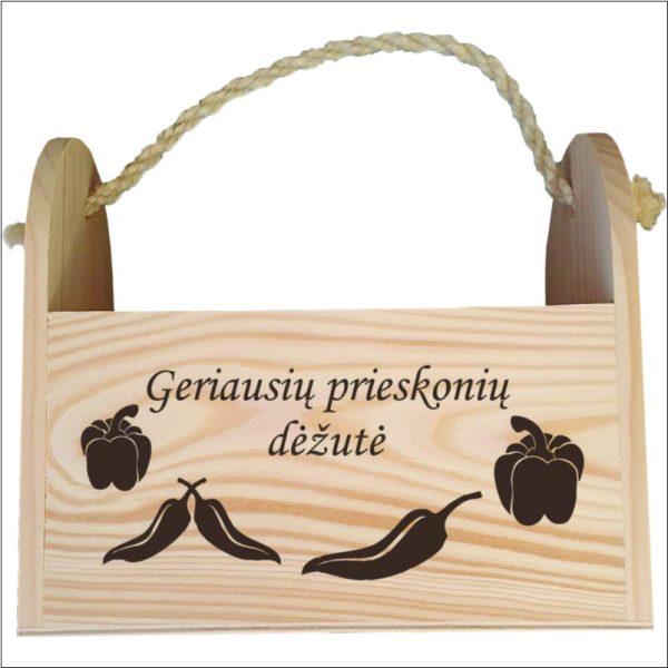 medinė prieskonių dėžutė